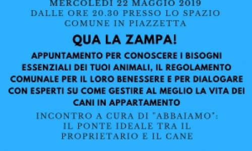 Qua la zampa, incontro il 22 maggio a CasaCrema+