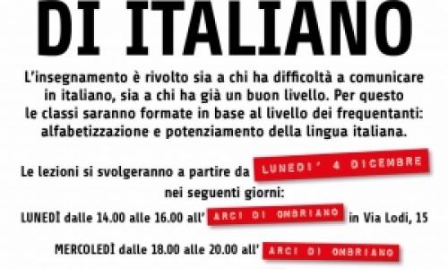 Lezioni di italiano a partire da lunedì 4 dicembre